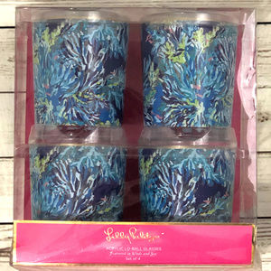 Lilly Pulitzer Lo-Ball Glasses, Wade and Sea. Blue